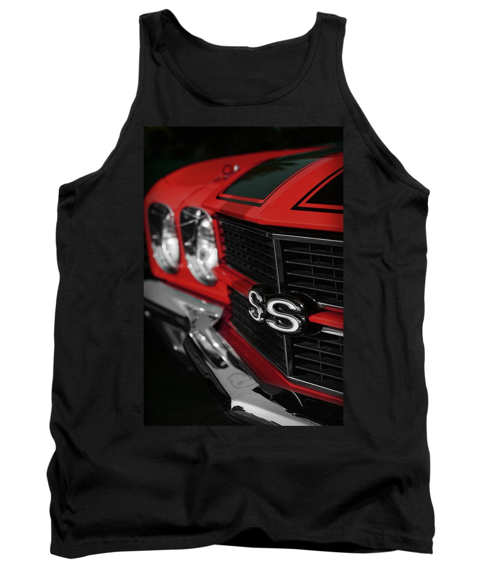 1970 Tank Top featuring the photograph 1970 Chevelle Ss396 Ss 396 Red by Gordon Dean II