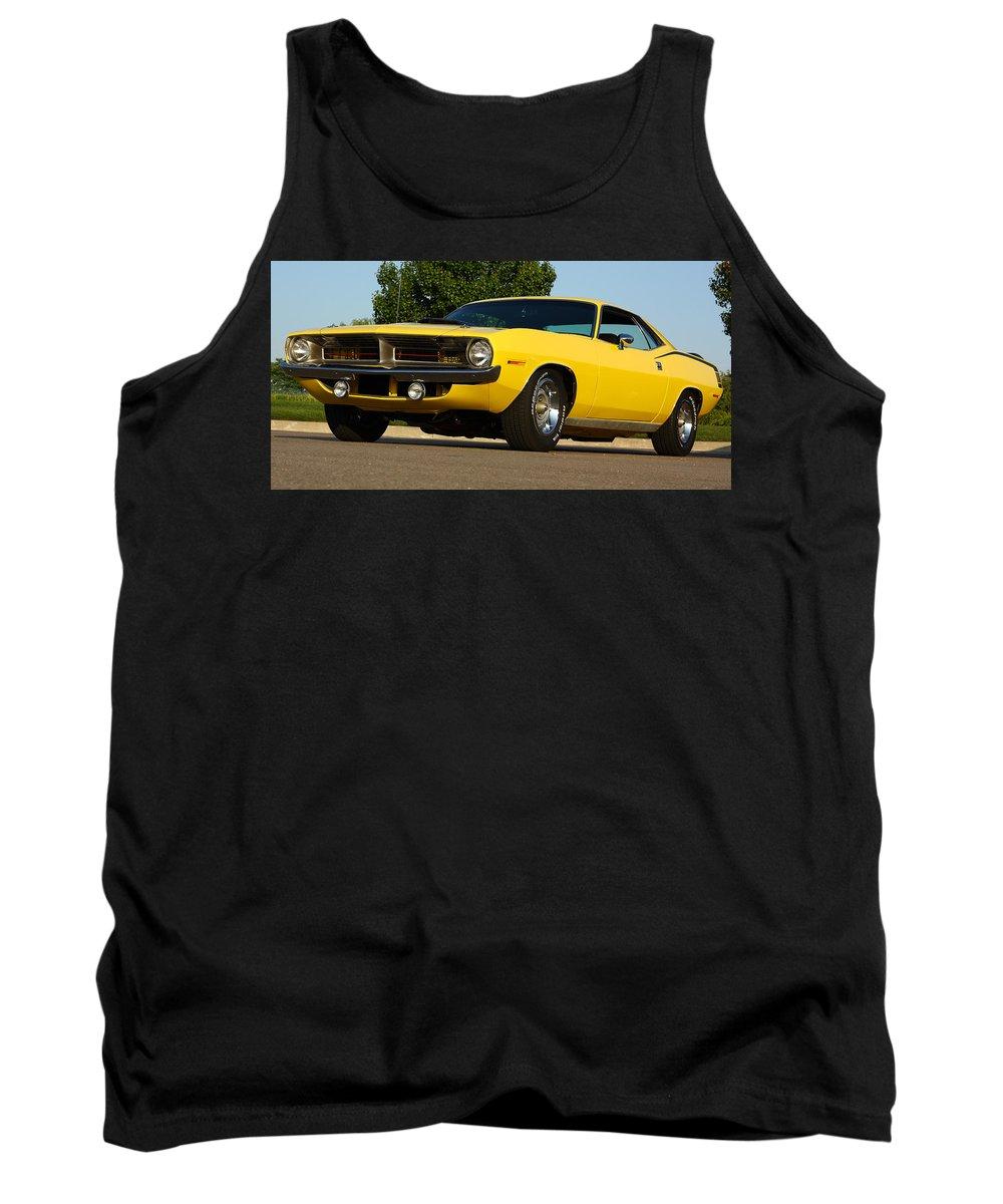 1970 Tank Top featuring the photograph 1970 Hemi 'cuda - Lemon Twist Yellow by Gordon Dean II