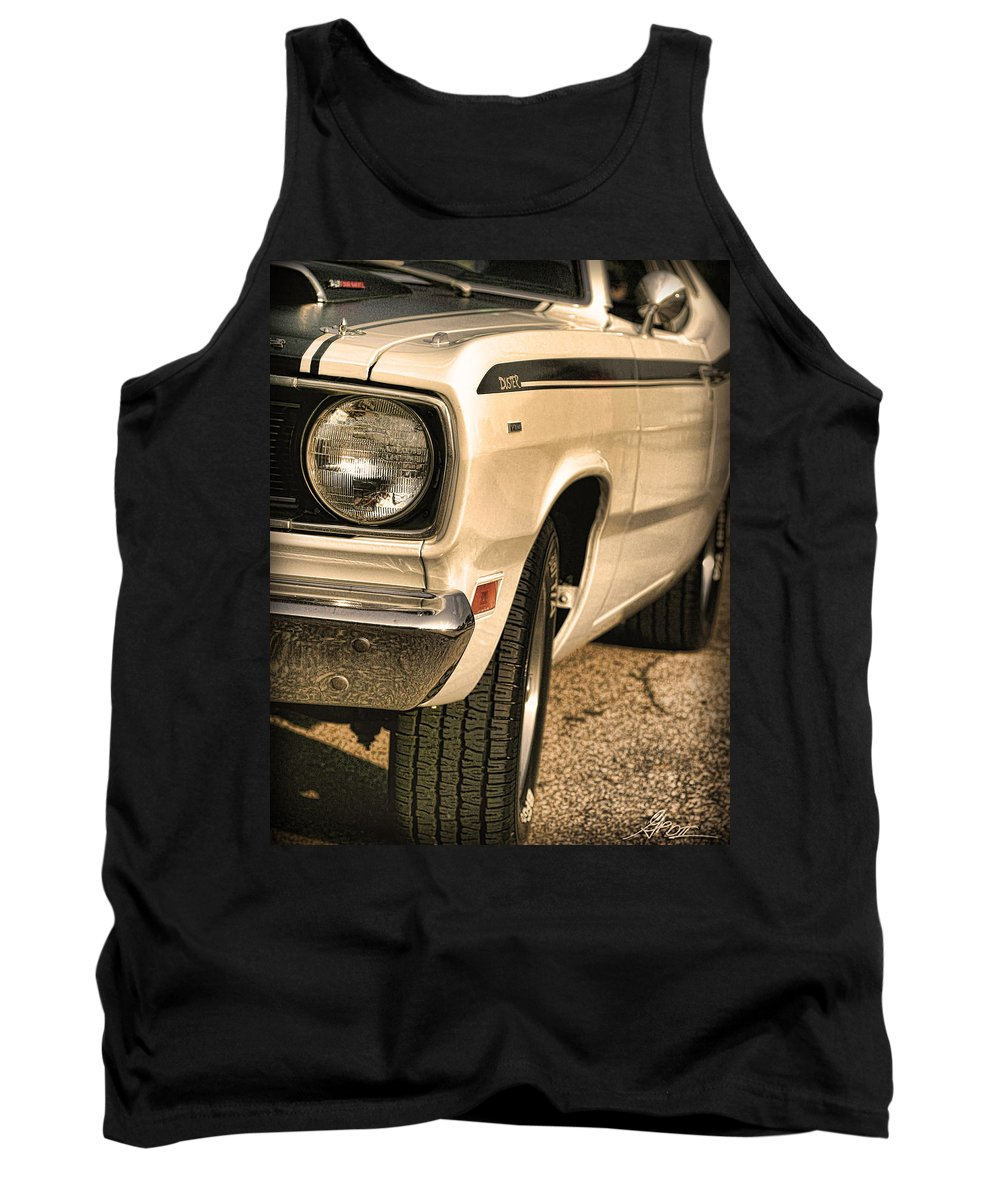 1970 Tank Top featuring the photograph 1971 Plymouth Duster 340 Four Barrel by Gordon Dean II