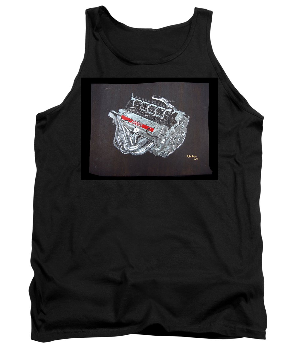 Ferrari Tank Top featuring the painting 1996 Ferrari F1 V10 Engine by Richard Le Page