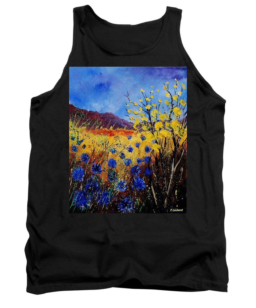 Poppies Flowers Floral Tank Top featuring the painting Blue Cornflowers by Pol Ledent