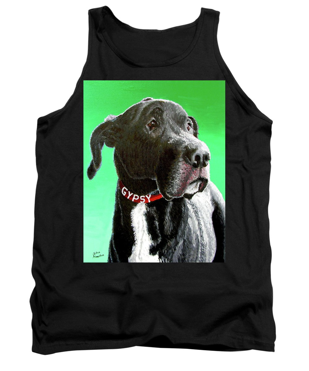 Dog Portrait Tank Top featuring the painting Gypsy by Stan Hamilton