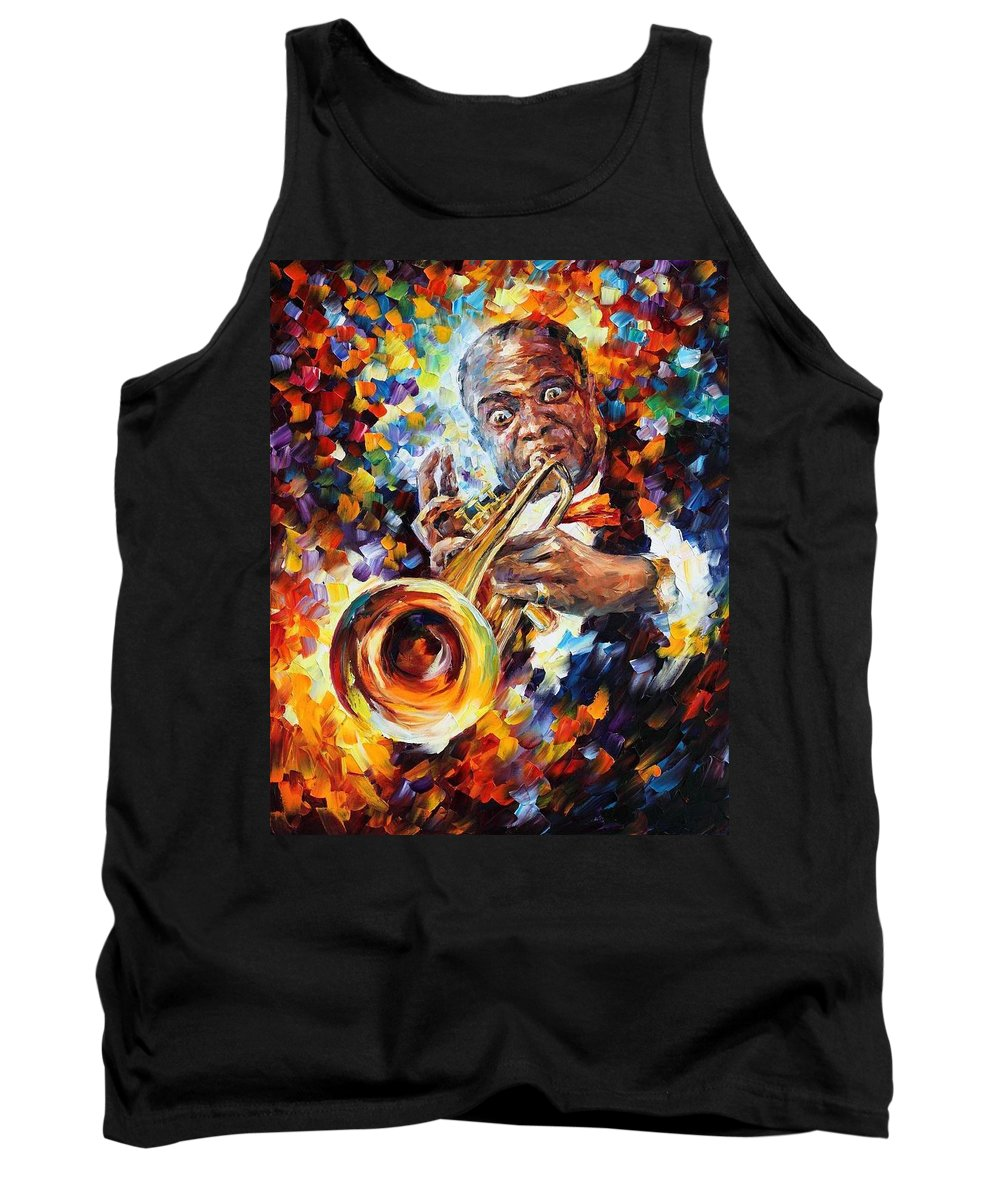 Afremov Tank Top featuring the painting Louis Armstrong . by Leonid Afremov