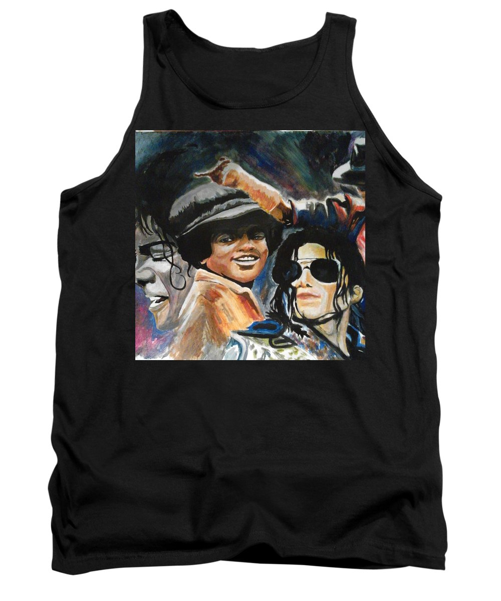 Acrylic Drawing Tank Top featuring the painting Micheal Jackson by Boris Satterwhite