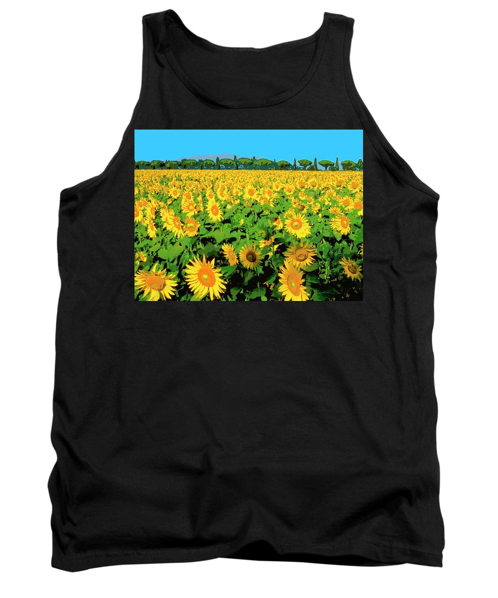 Tuscany Sunflowers Tank Top featuring the mixed media Tuscany Sunflowers by Dominic Piperata