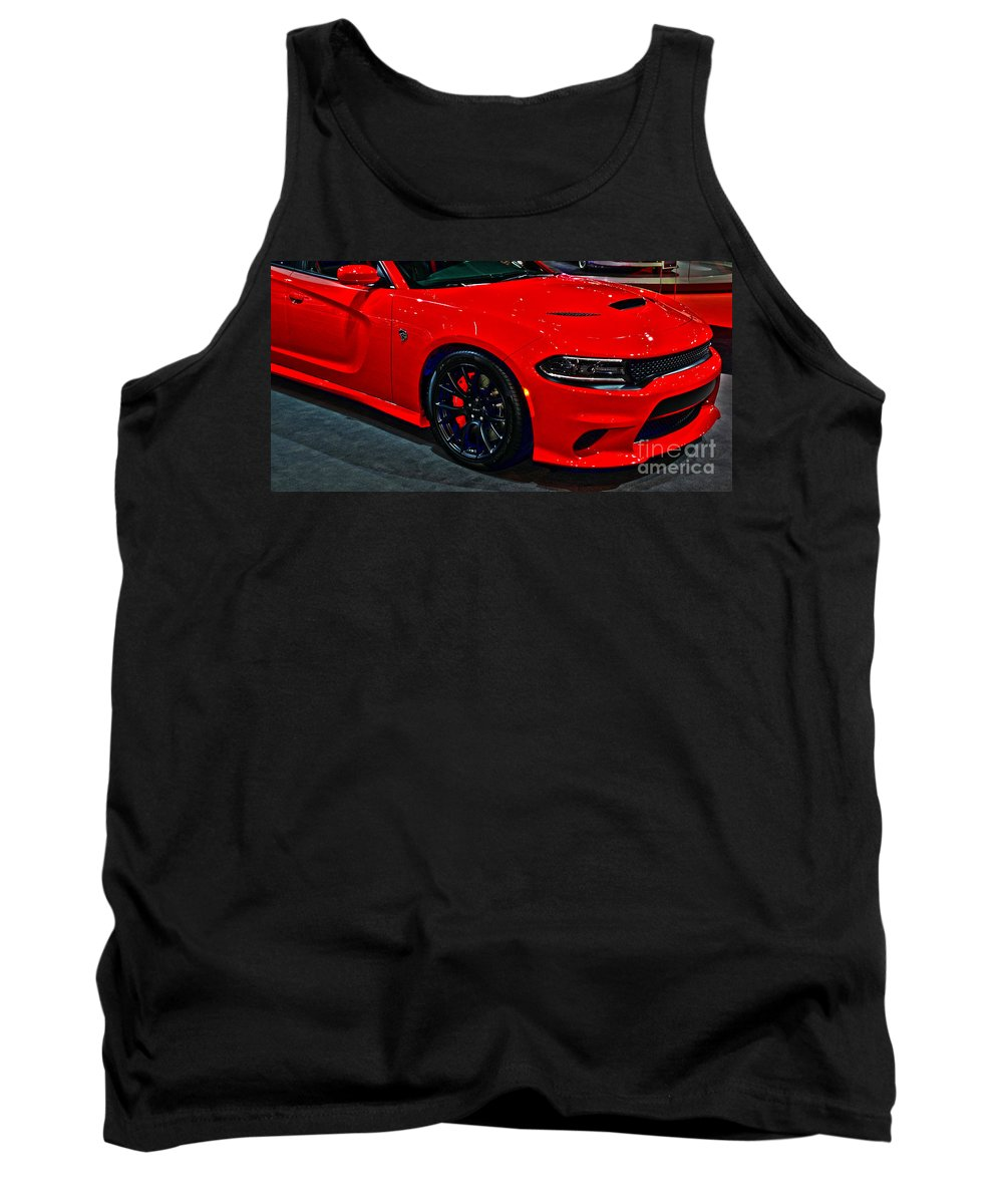 Auto Tank Top featuring the photograph 2015 Dodge Charger Srt Hellcat by Alan Look