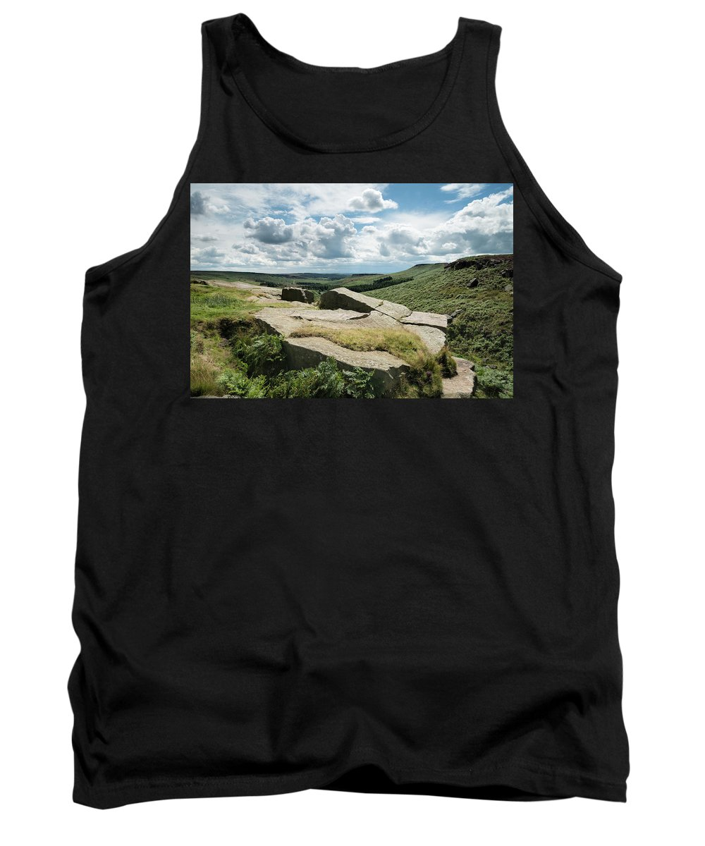 Landscape Tank Top featuring the photograph Beautiful Vibrant Landscape Image Of Burbage Edge And Rocks In S by Matthew Gibson