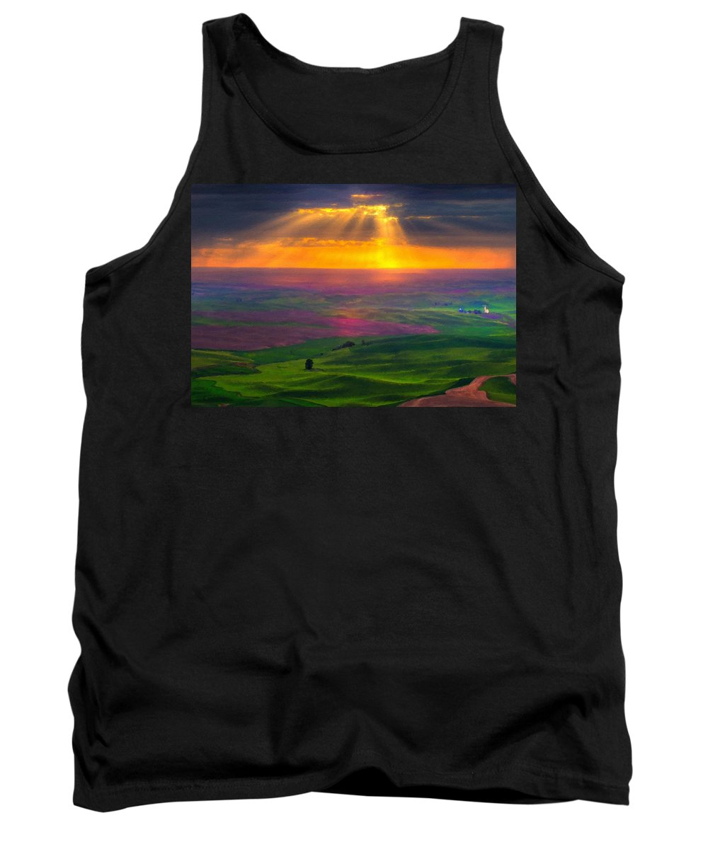 Pictures Tank Top featuring the digital art Landscape Painted by Usa Map