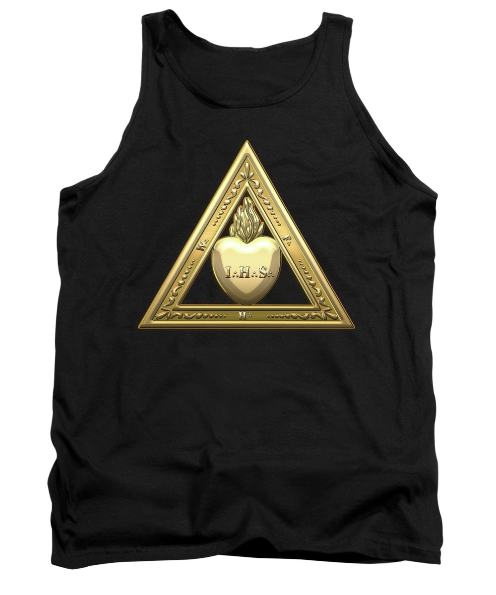 'ancient Brotherhoods' Collection By Serge Averbukh Tank Top featuring the digital art 26th Degree Mason - Prince Of Mercy Or Scottish Trinitarian Masonic Jewel by Serge Averbukh