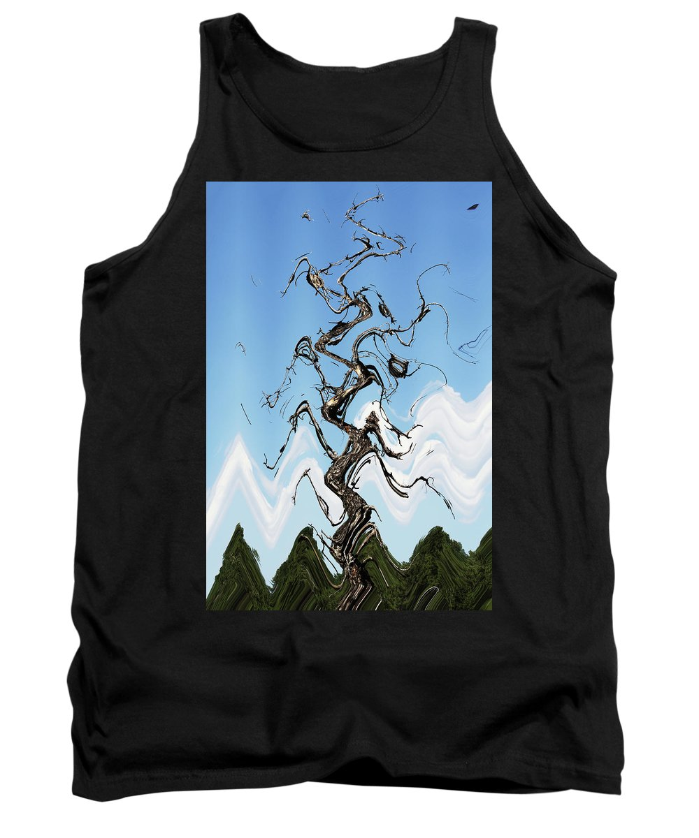 Dead Pine Tree Abstract Tank Top featuring the digital art Dead Pine Tree Abstract by Tom Janca