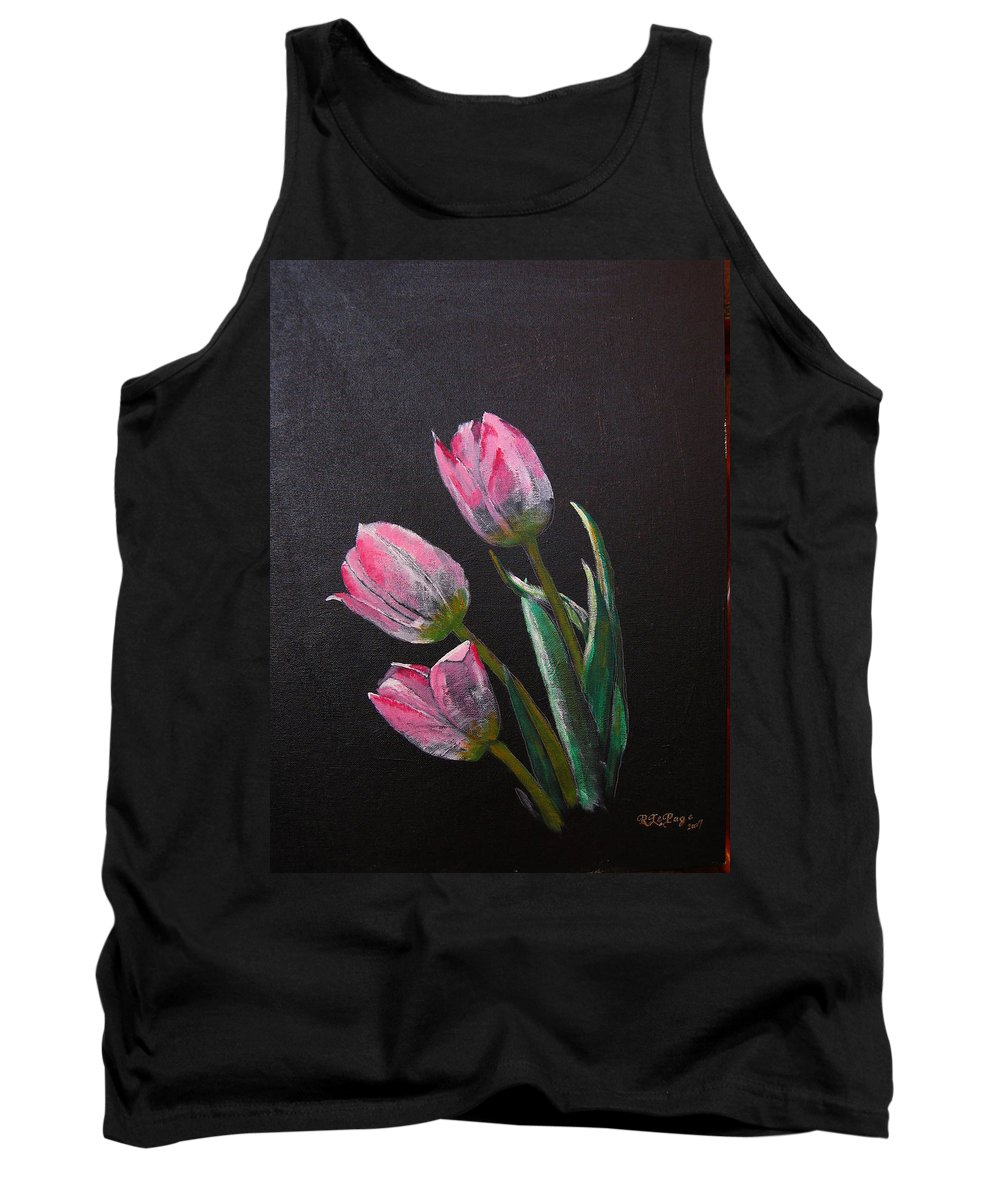 Tulips Tank Top featuring the painting 3 Tulips by Richard Le Page