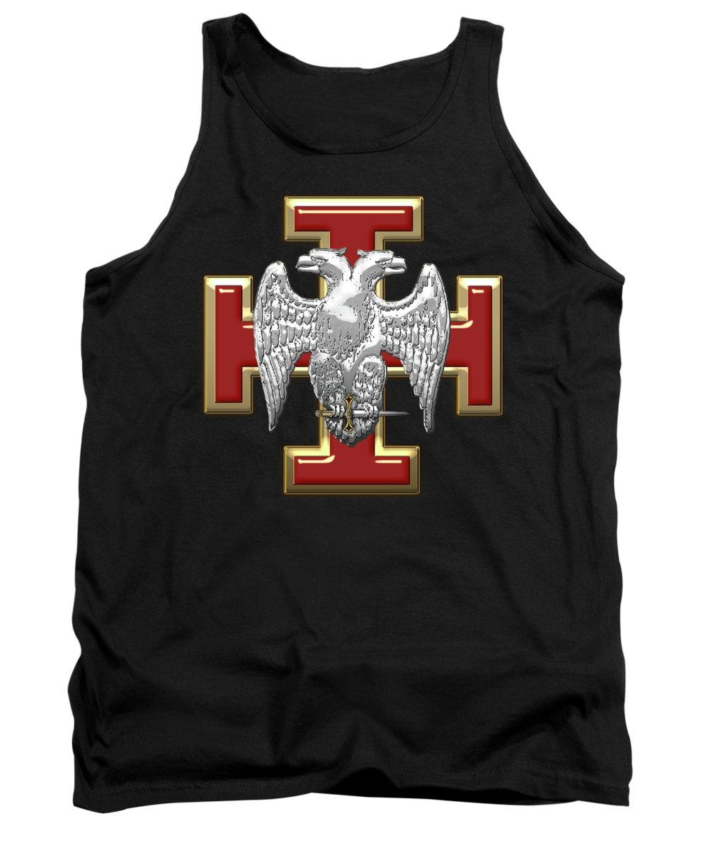 'ancient Brotherhoods' Collection By Serge Averbukh Tank Top featuring the digital art 30th Degree Mason - Knight Kadosh Masonic Jewel by Serge Averbukh