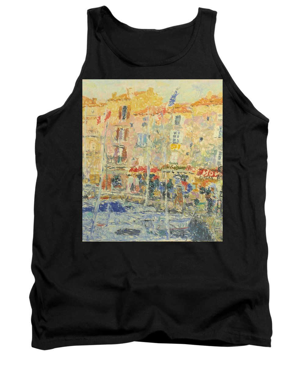 Bay Tank Top featuring the painting Yachts by Robert Nizamov