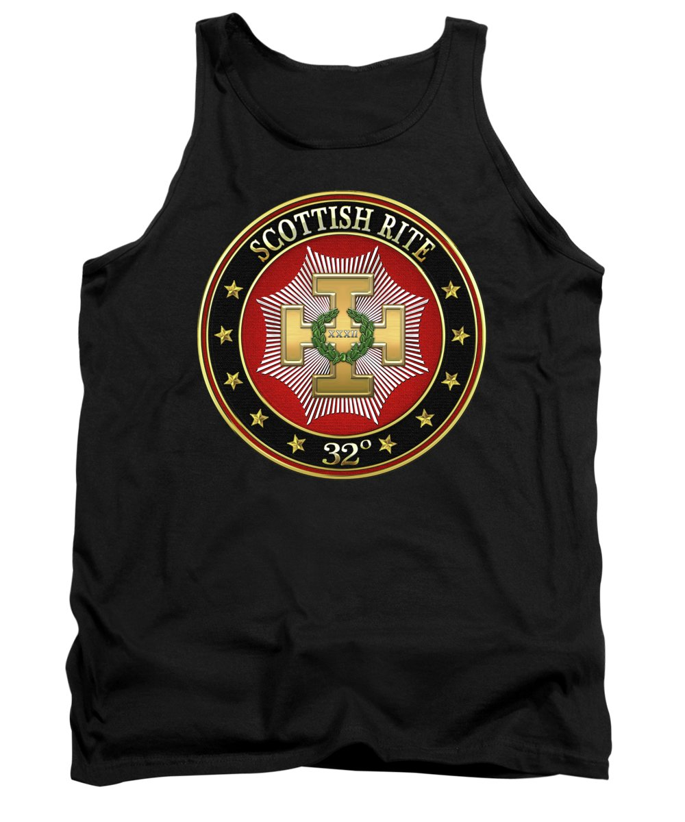 'scottish Rite' Collection By Serge Averbukh Tank Top featuring the digital art 32nd Degree - Master Of The Royal Secret Jewel On Black Leather by Serge Averbukh