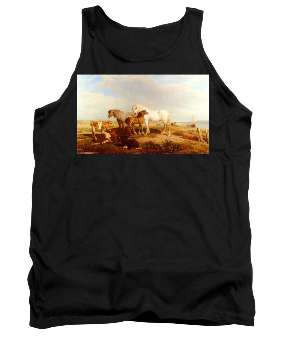 Ranch Tank Top featuring the digital art Willis Henry Brittan Horses And Cattle On The Shore Henry Brittan Willis by Eloisa Mannion
