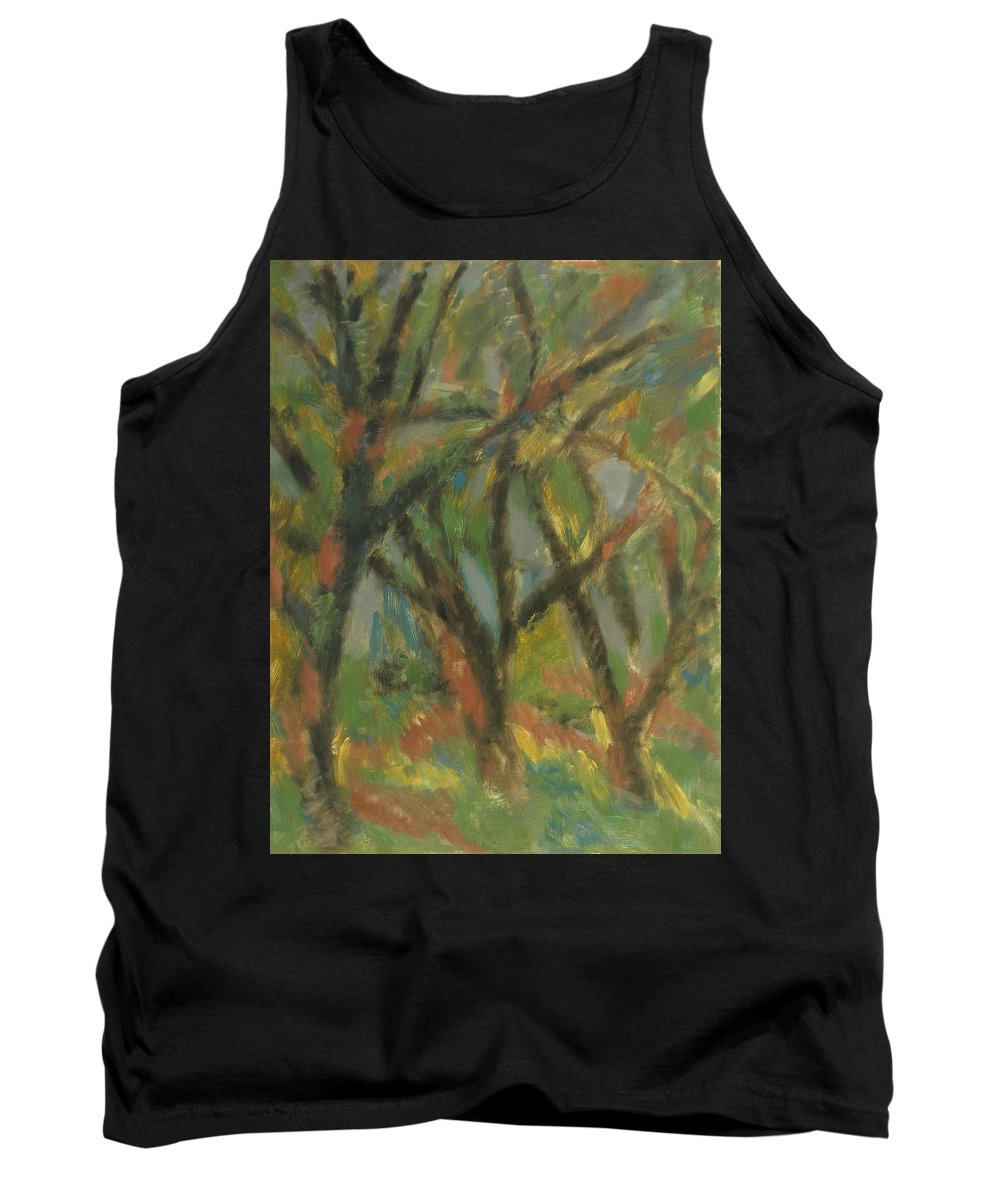 Sun Tank Top featuring the painting Trees by Robert Nizamov