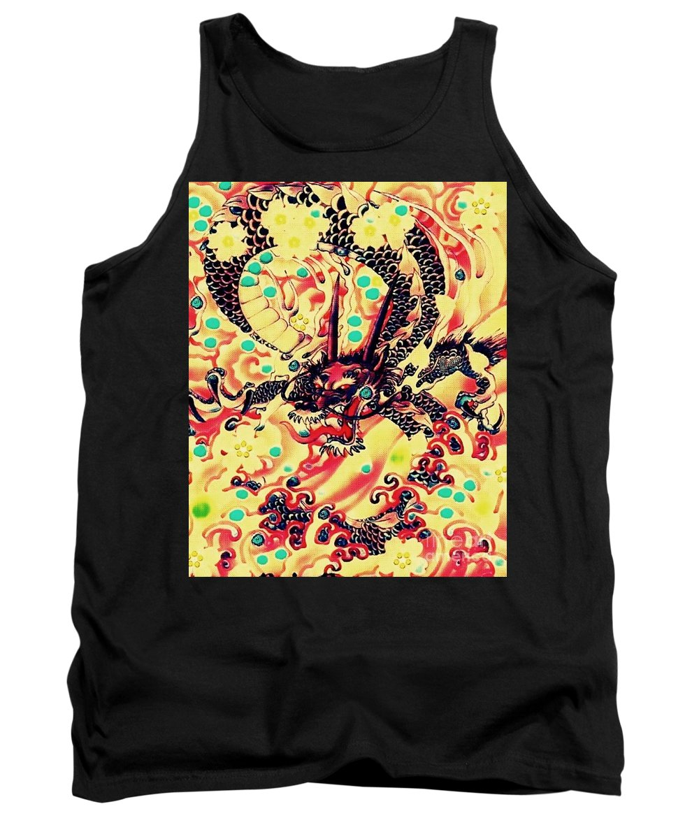 Dragon Tank Top featuring the mixed media 3d Color Dragon by Hans Gns