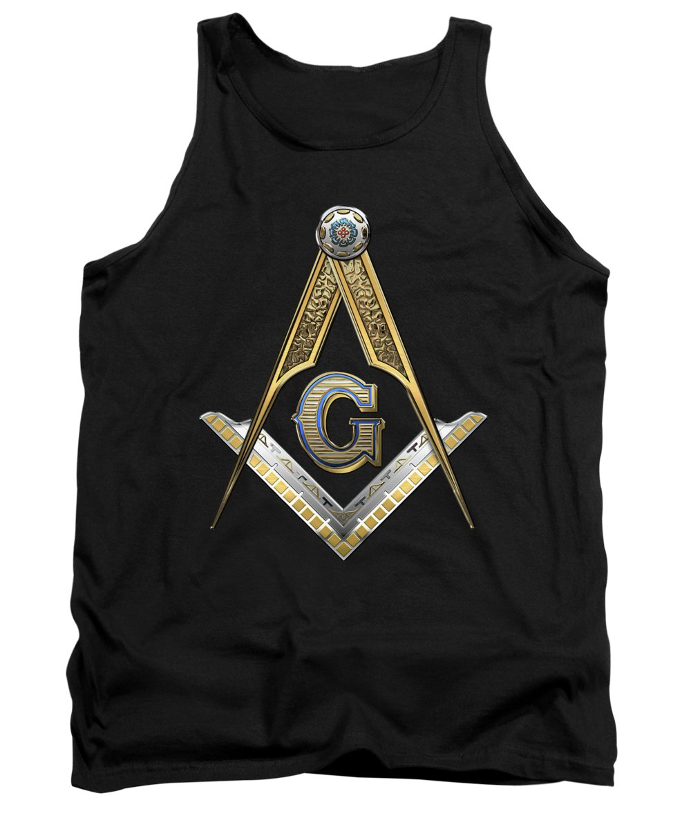 'ancient Brotherhoods' Collection By Serge Averbukh Tank Top featuring the digital art 3rd Degree Mason - Master Mason Jewel On Black Canvas by Serge Averbukh
