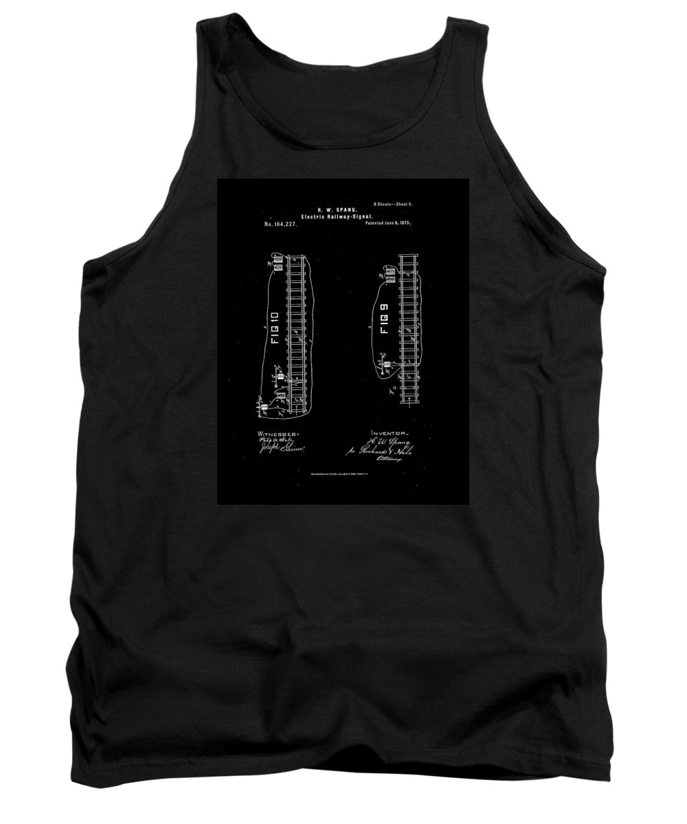 Rail Tank Top featuring the drawing 1875 Electric Railway Signal Patent Drawing by Steve Kearns