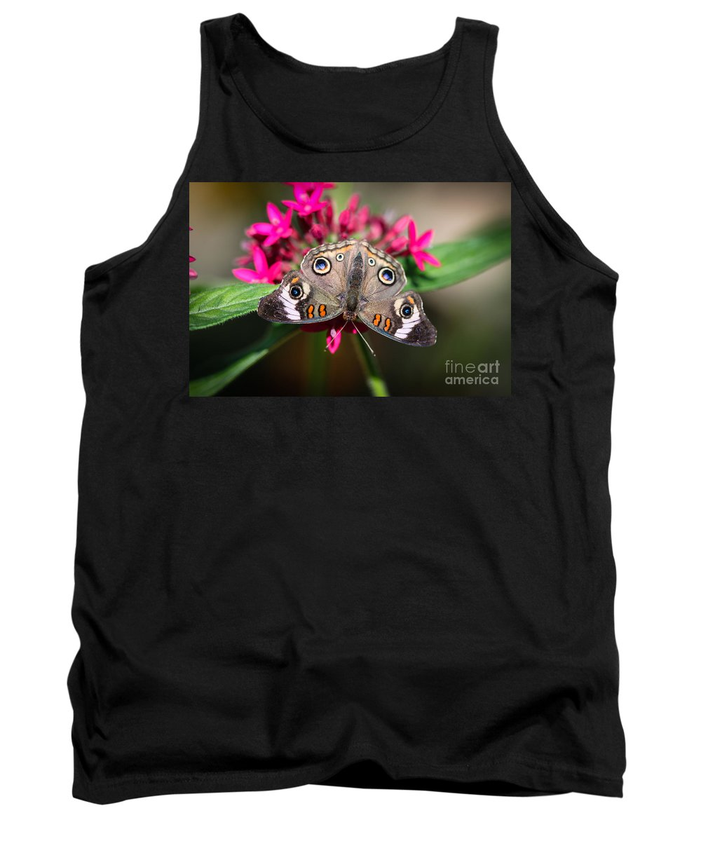 Butterfly Tank Top featuring the photograph Common Buckeye Junonia Coenia by Henrik Lehnerer