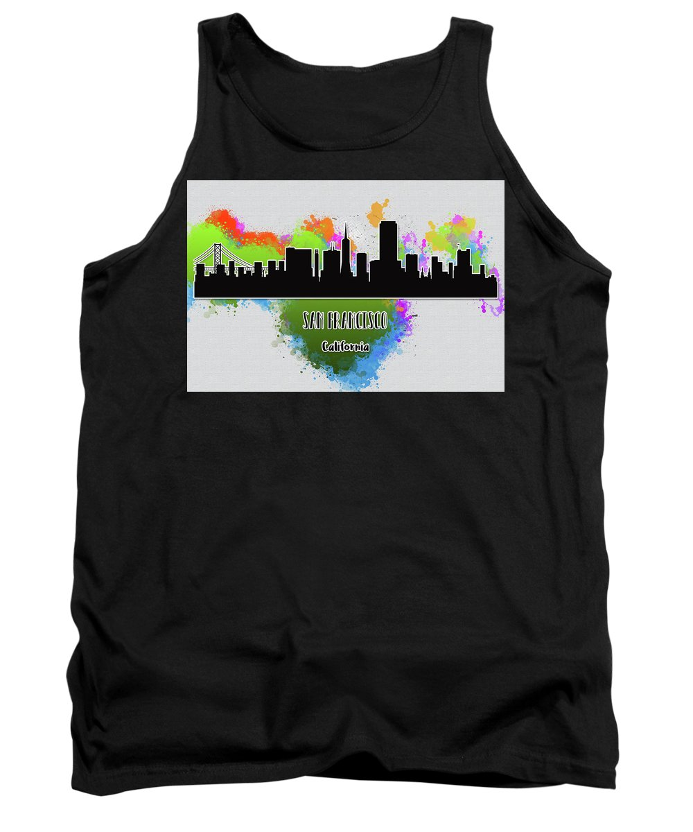 Anna Maloverjan Tank Top featuring the digital art San Francisco Skyline Silhouette by Anna Maloverjan