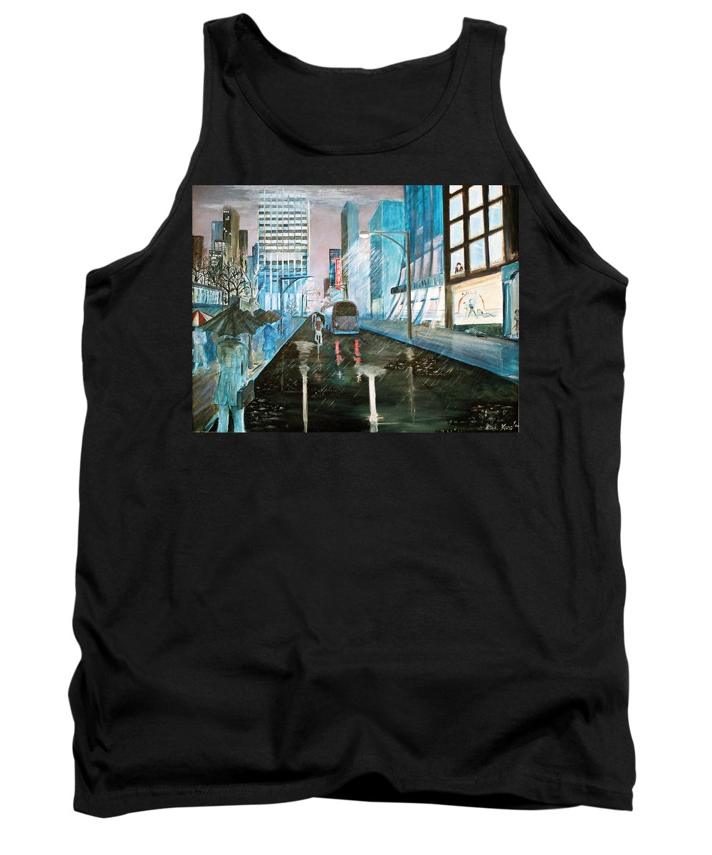 Street Scape Tank Top featuring the painting 42nd Street Blue by Steve Karol