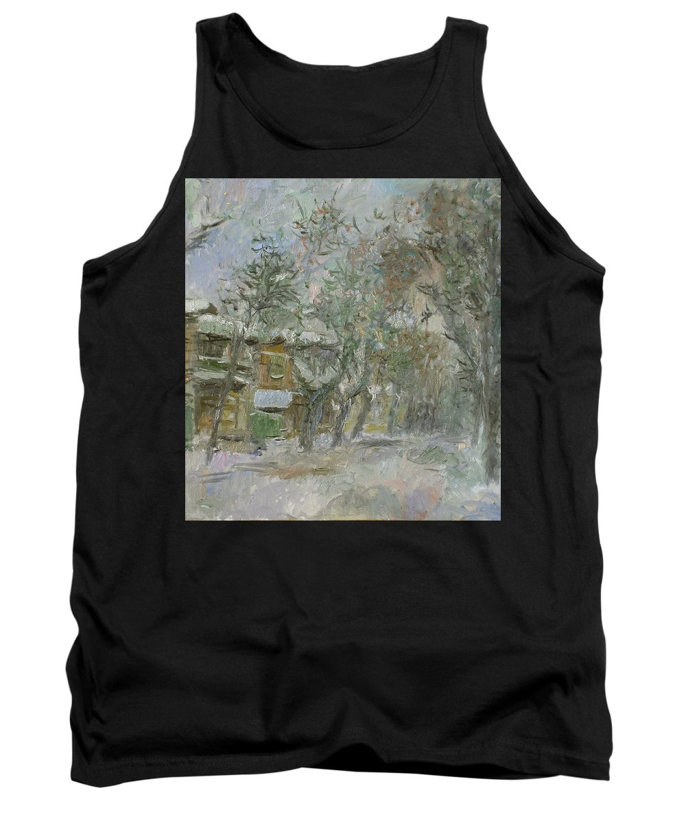 Snow Tank Top featuring the painting Landscape by Robert Nizamov