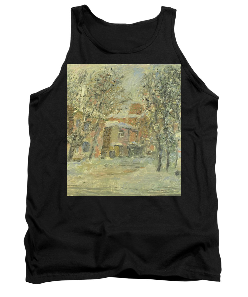 Snow Tank Top featuring the painting Winter by Robert Nizamov