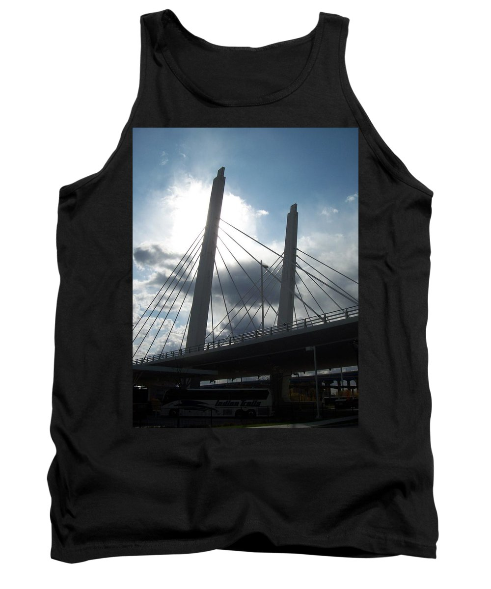 Bridge Tank Top featuring the photograph 6th Street Bridge Backlit by Anita Burgermeister