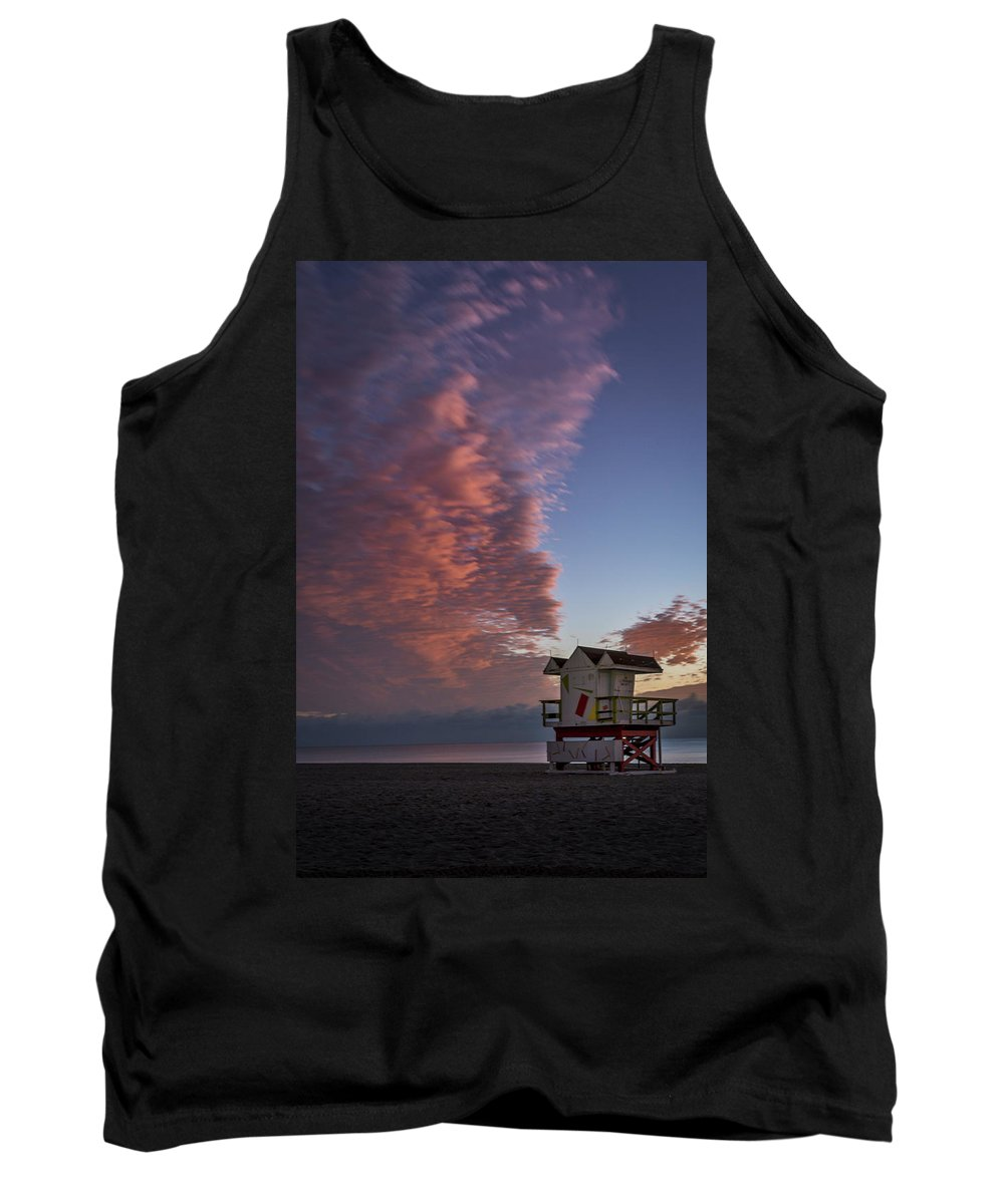 Atlantic Tank Top featuring the photograph 7826- Miami Beach Sunrise by David Lange