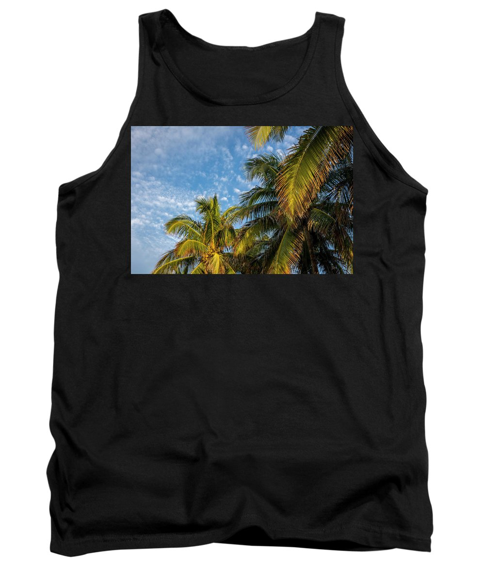 Clouds Tank Top featuring the photograph 8167- Palm Tree by David Lange