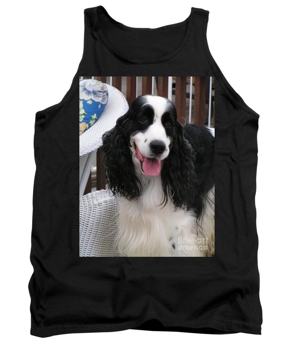 #940 D1038 Farmer Browns Springer Spaniel Adorable Happy Tank Top featuring the photograph #940 D1038 Farmer Browns Springer Spaniel Adorable Happy by Robin Lee Mccarthy Photography