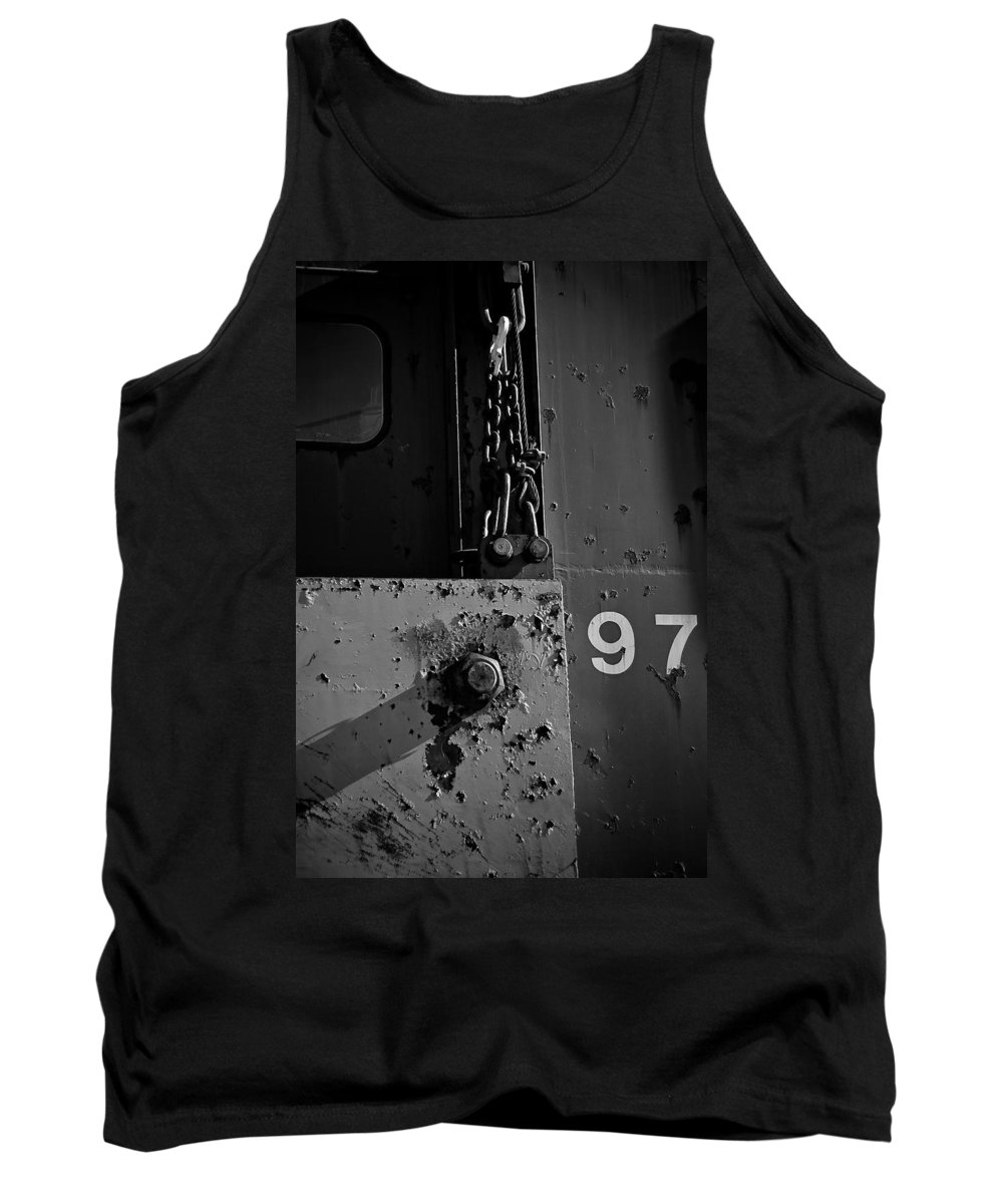 Black And White Photograph Tank Top featuring the photograph 97 Track Plow by Mike Oistad