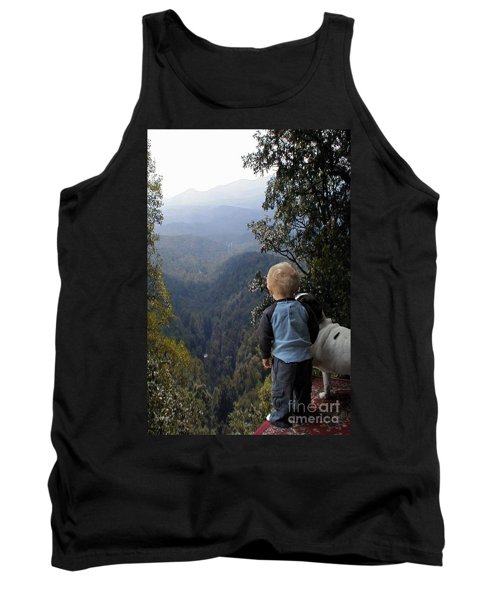 Boy Tank Top featuring the photograph A Boy And His Dog by Robert Meanor