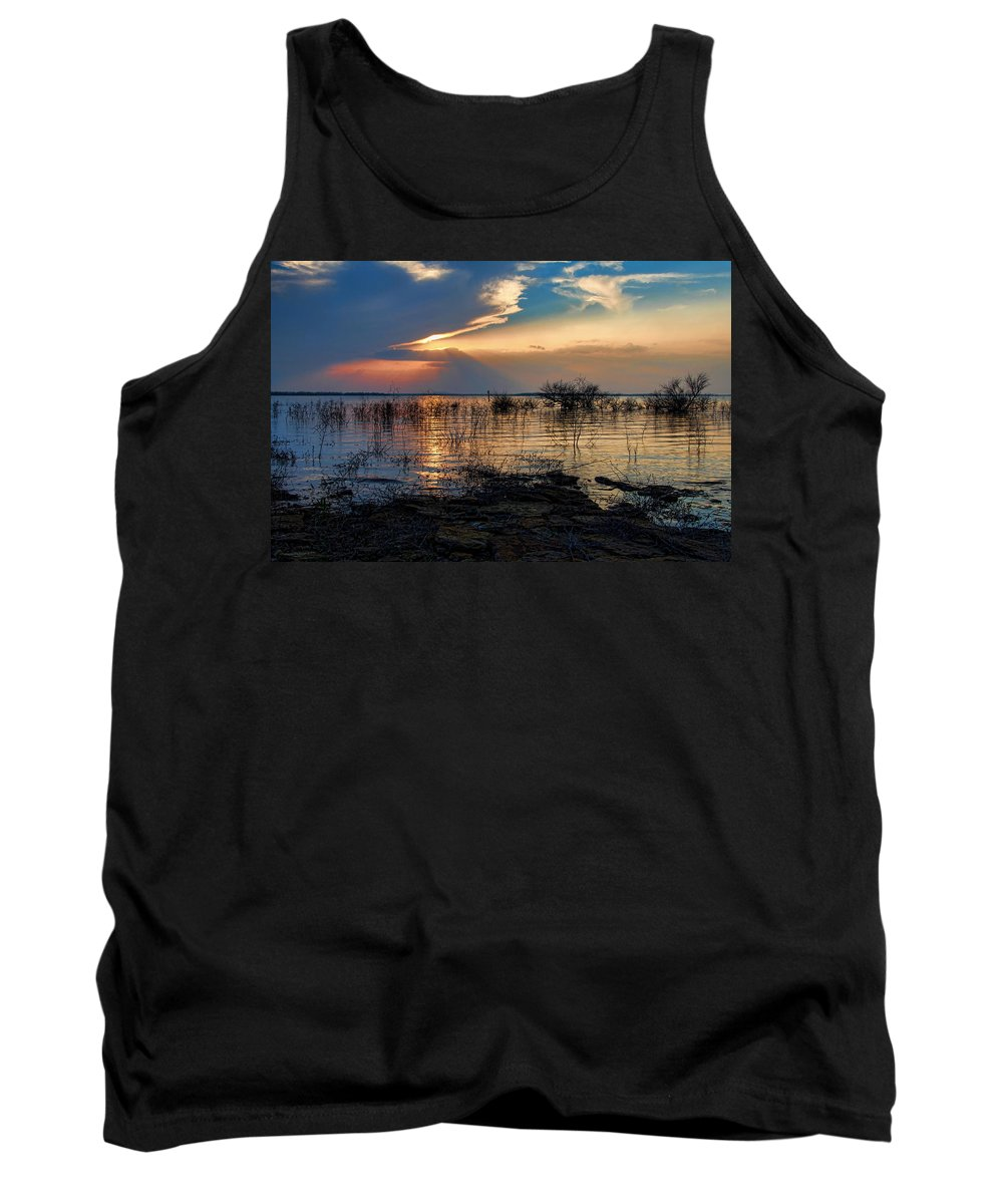 Sunset Tank Top featuring the photograph A Different Shoreline by Carolyn Fletcher