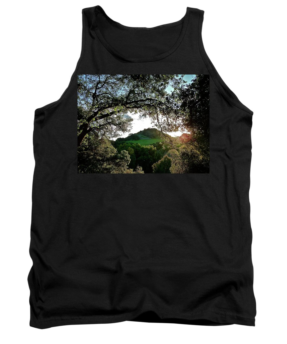 Landscape Tank Top featuring the photograph A Distant Cross by Diana Hatcher