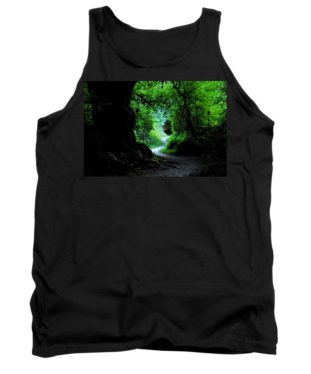 Art Tank Top featuring the painting A Forest Trail by David Lee Thompson