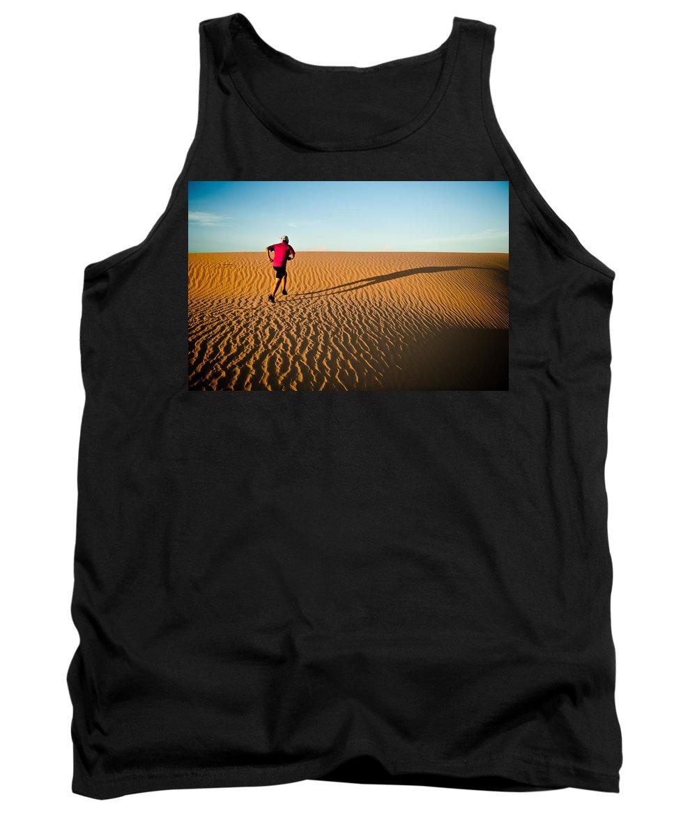 Running Tank Top featuring the photograph A Long Desert Run by Scott Sawyer