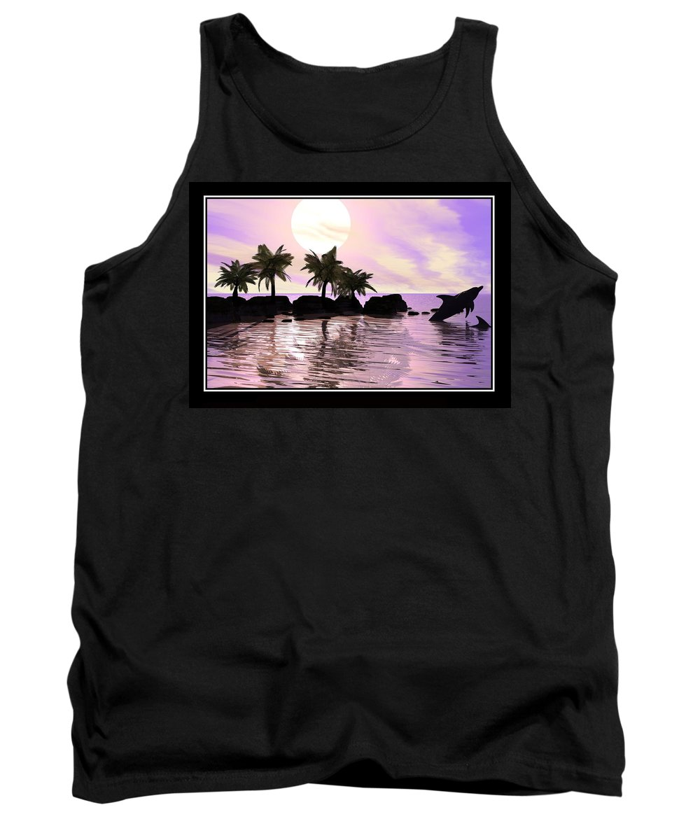 Tropical Image Sun Dolphins Palms Sea Ocean Digital Art Real Surreal Realism William Ballester Canvas Prints Posters Frames Abstract Landscapes Canvas Prints Tank Top featuring the digital art A Milisecond Shot by William Ballester