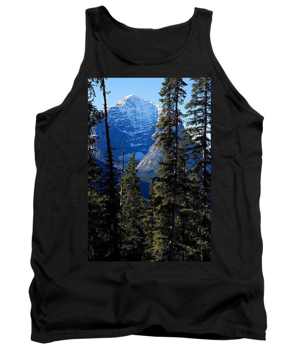 Jasper National Park Tank Top featuring the photograph A Peek At The Peak by Larry Ricker