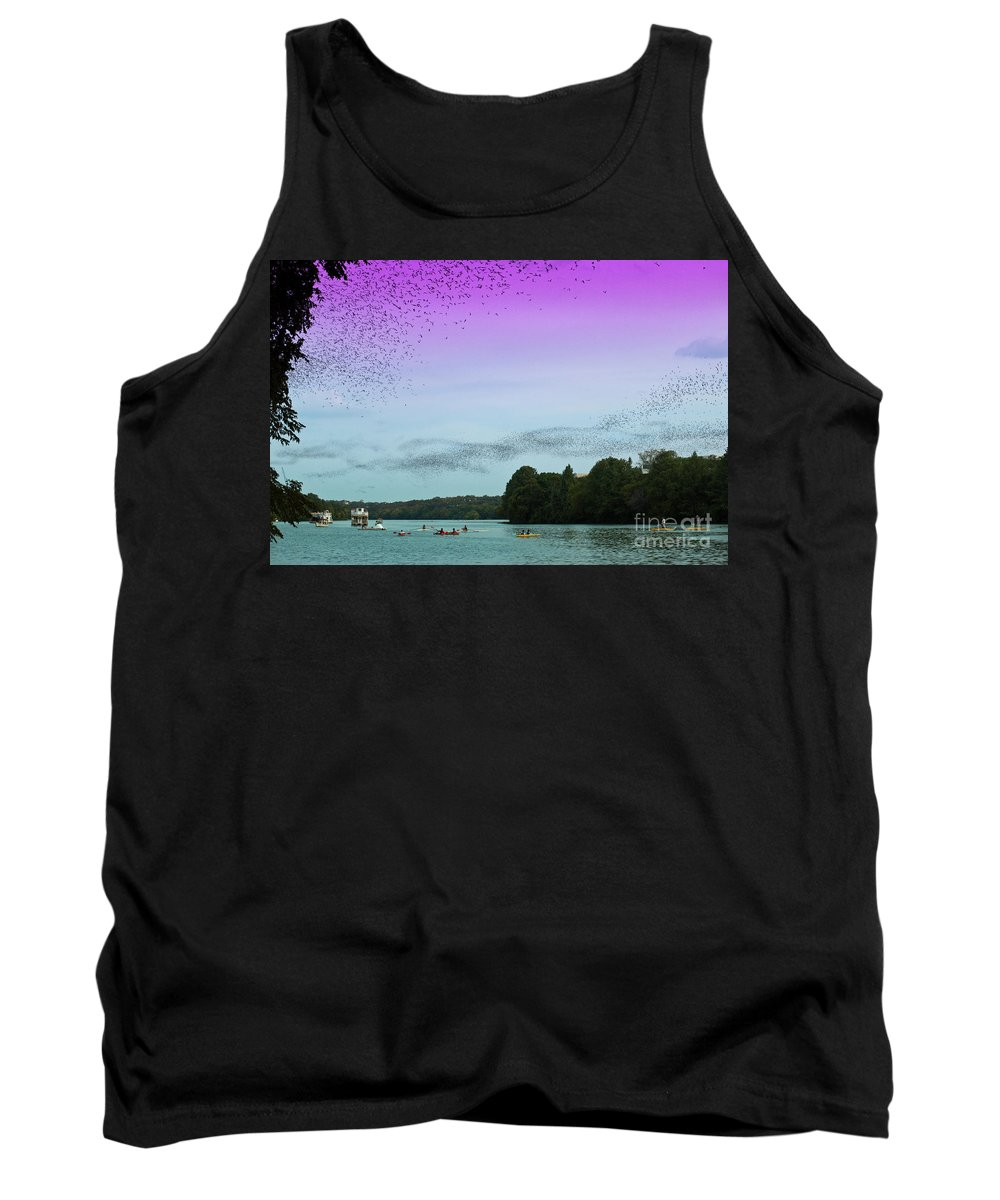 Austin's Urban Bat Colony Tank Top featuring the photograph A Swarm Of Bats Fly Out From Underneath The Ann Richards Congress Avenue Bridge At Sundown by Austin Bat Tours