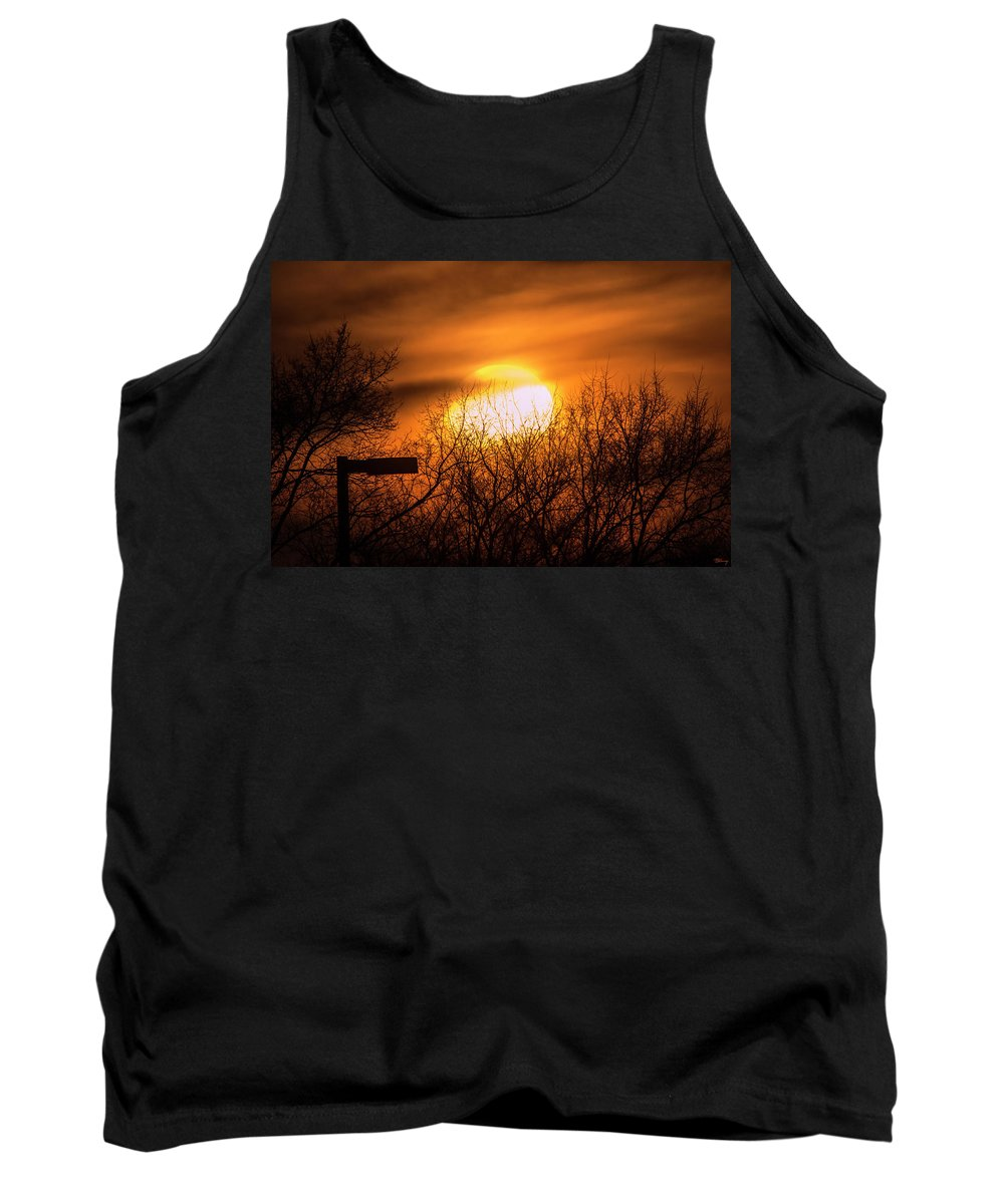 Vague Tank Top featuring the photograph A Vague Sun by Brian Kenney
