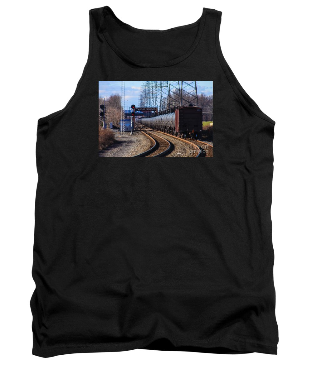This Is A Long Line Of Tanker Cars Being Pulled By Two Csx Engines By The Bound Brook Train Station In New Jersey Tank Top featuring the photograph A Very Long Line Of Tanker Cars by William Rogers