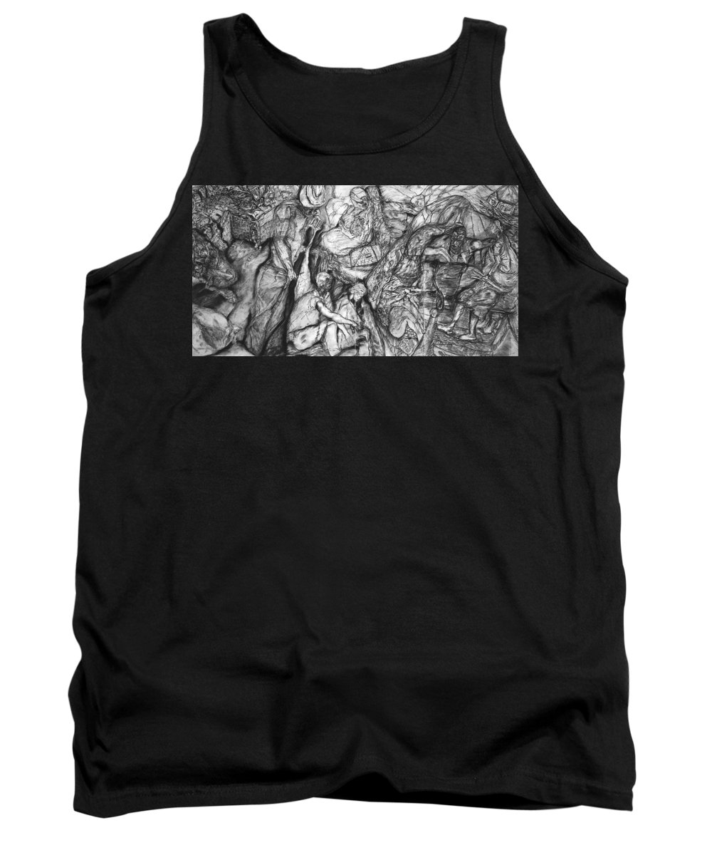 Graphite; Ethnic; Spiritual; Fragmented Art;drawing Tank Top featuring the drawing A Village by Arlene Rabinowitz