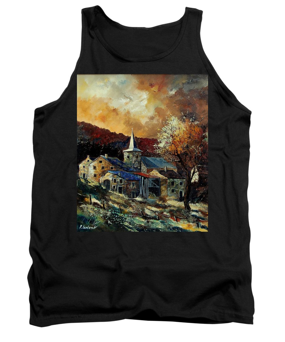 Tree Tank Top featuring the painting A Village In Autumn by Pol Ledent