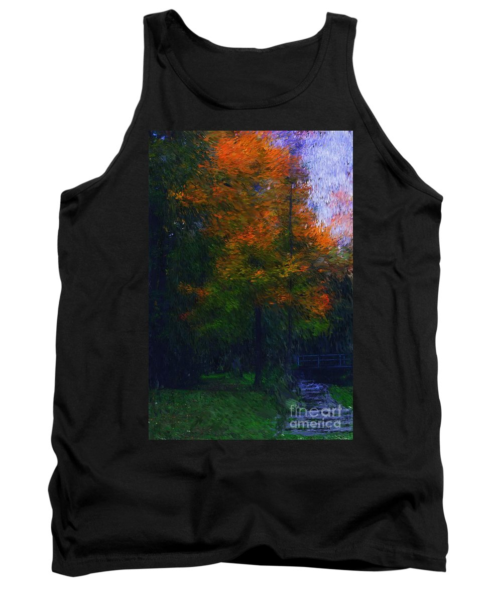 Autumn Tank Top featuring the photograph A Walk In The Park by David Lane