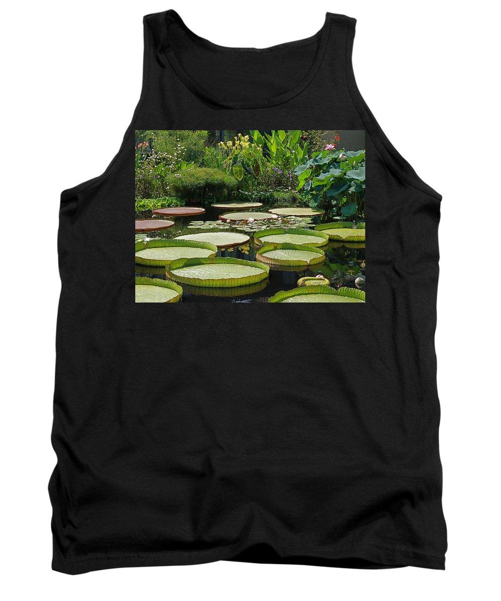 water Garden Tank Top featuring the photograph A Water Garden by Byron Varvarigos