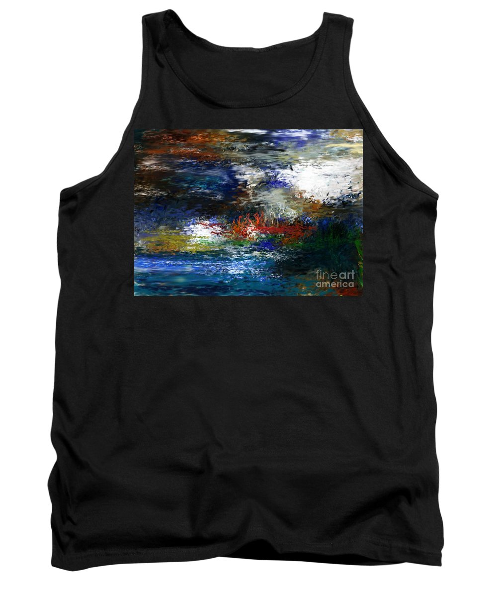 Abstract Tank Top featuring the digital art Abstract Impression 5-9-09 by David Lane