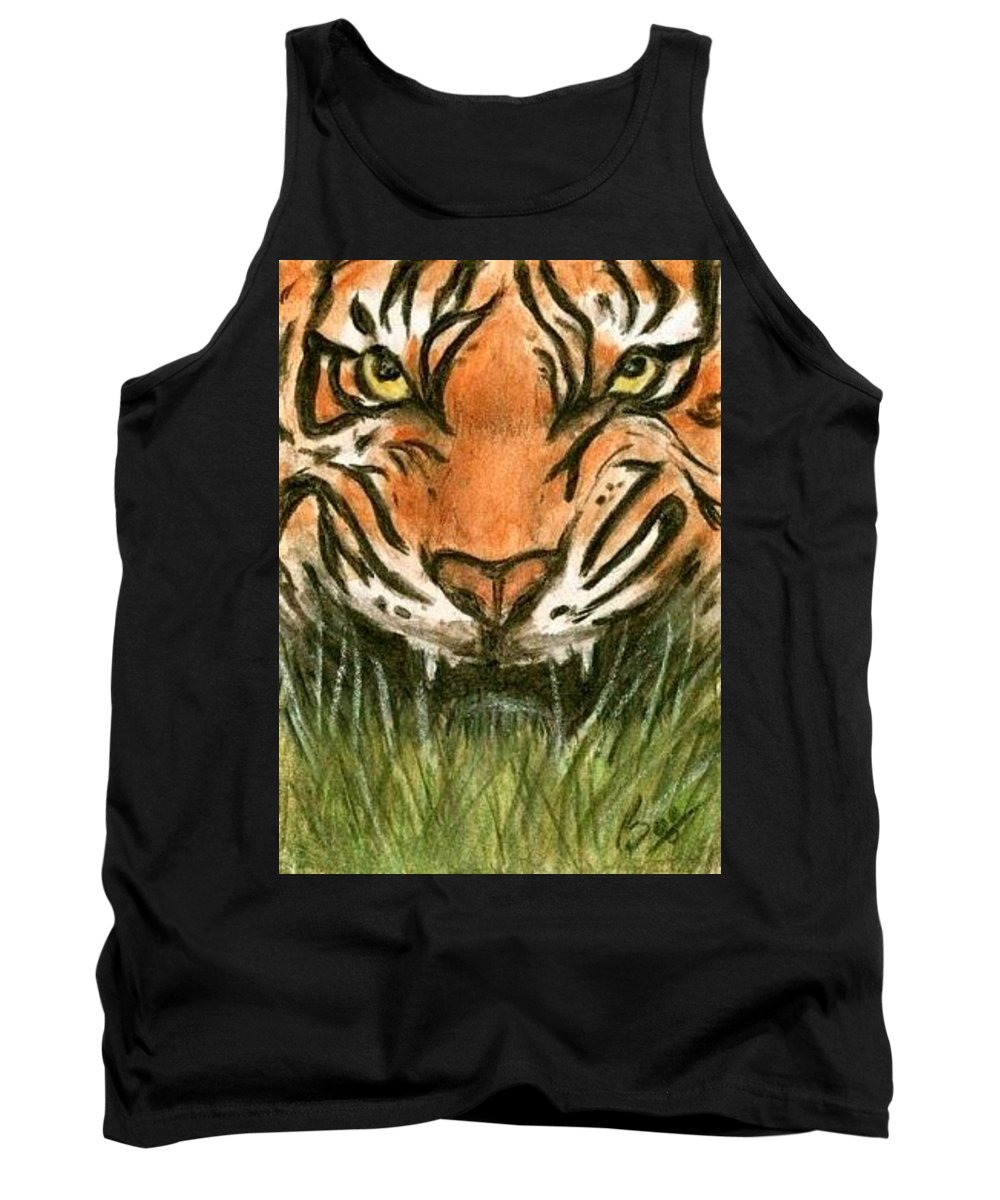 Tiger Animals Brucelennon Art Aceo Tank Top featuring the painting Aceo Tiger by Bruce Lennon