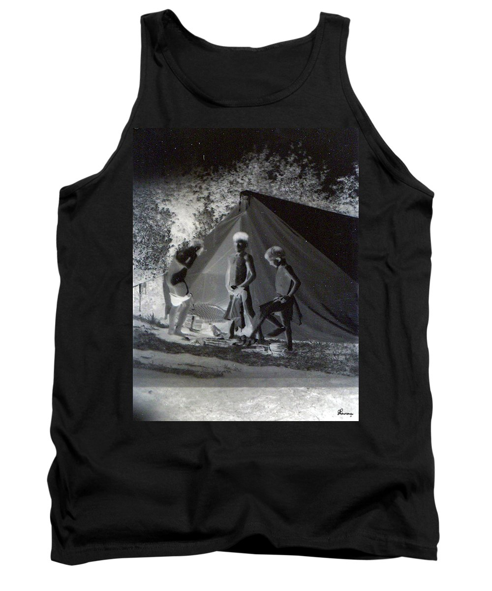 Boys Swimming Camping Tent Nature Clothes Classic 1950s Tank Top featuring the photograph After Swimming by Andrea Lawrence